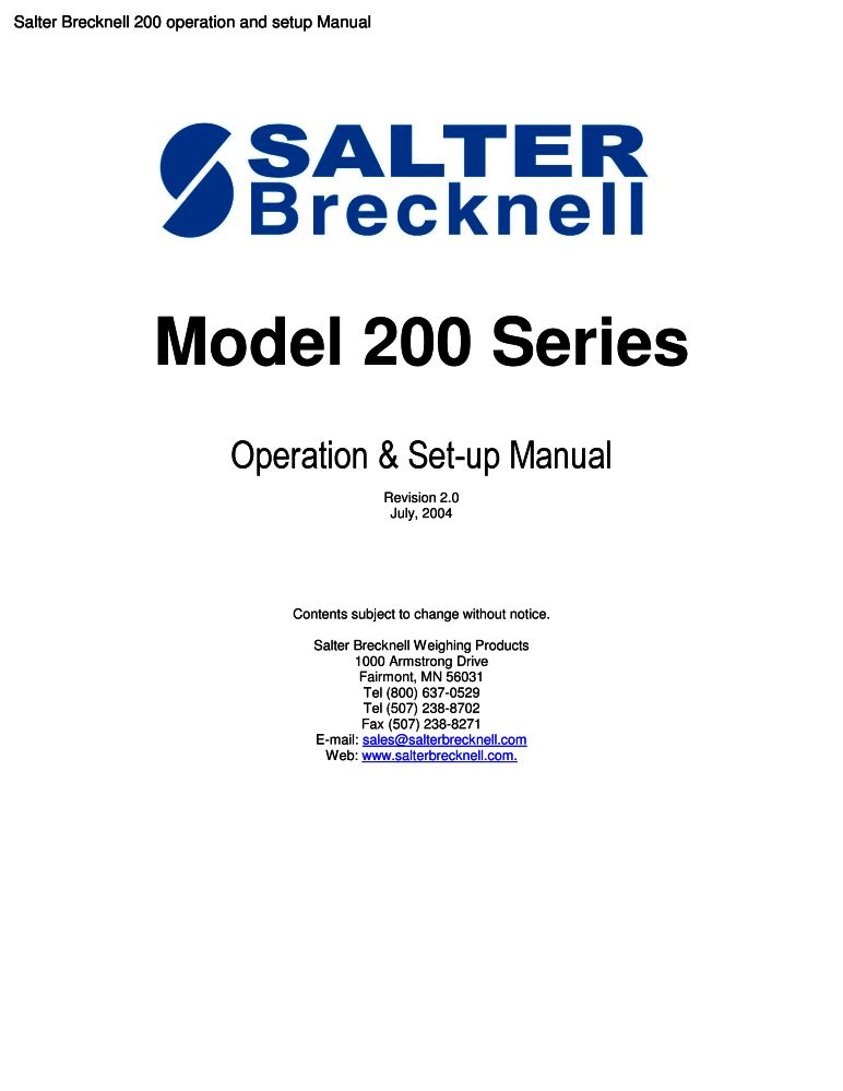 Salter Brecknell 200 Operation And Setup Manual Pdf The Checkout