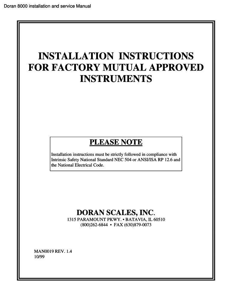 Doran 8000 installation and service manual PDF - The