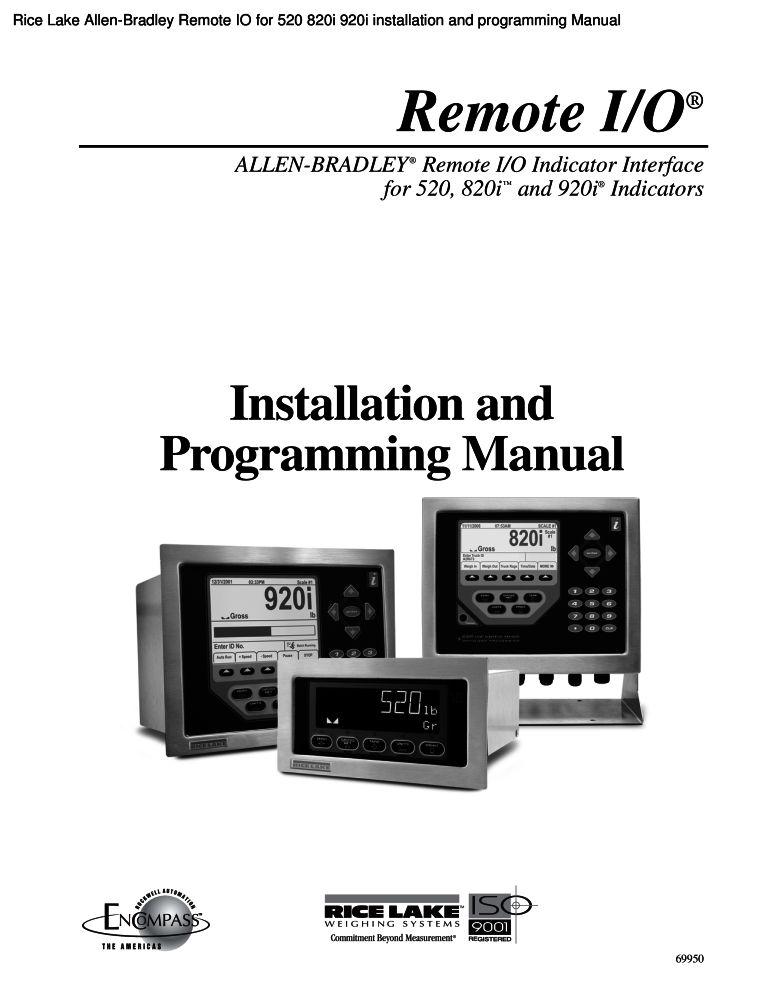 Rice Lake Allen-Bradley Remote IO for 520 820i 920i installation and ...