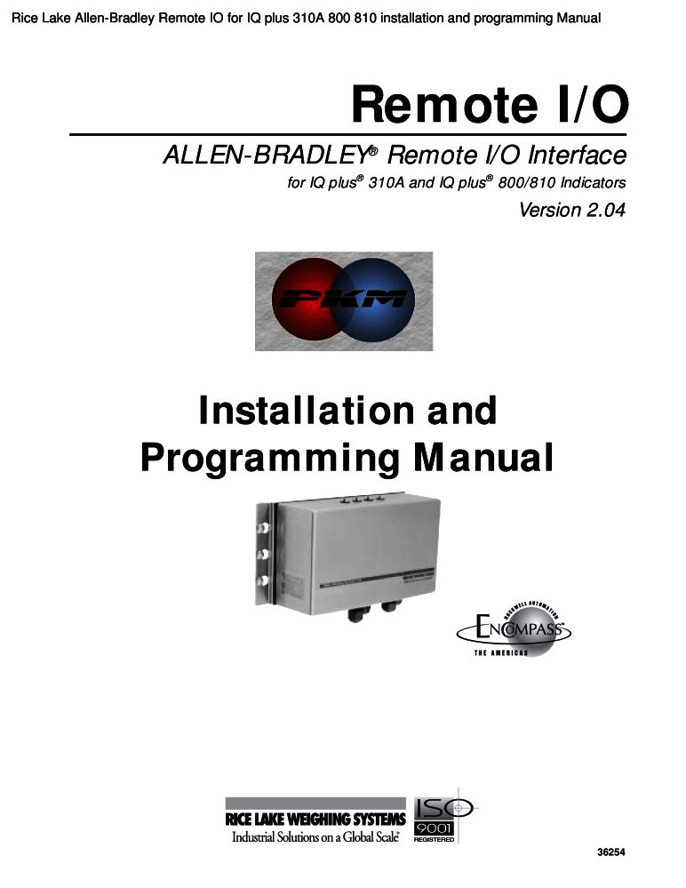 Rice Lake Allen-Bradley Remote IO for IQ plus 310A 800 810 ...