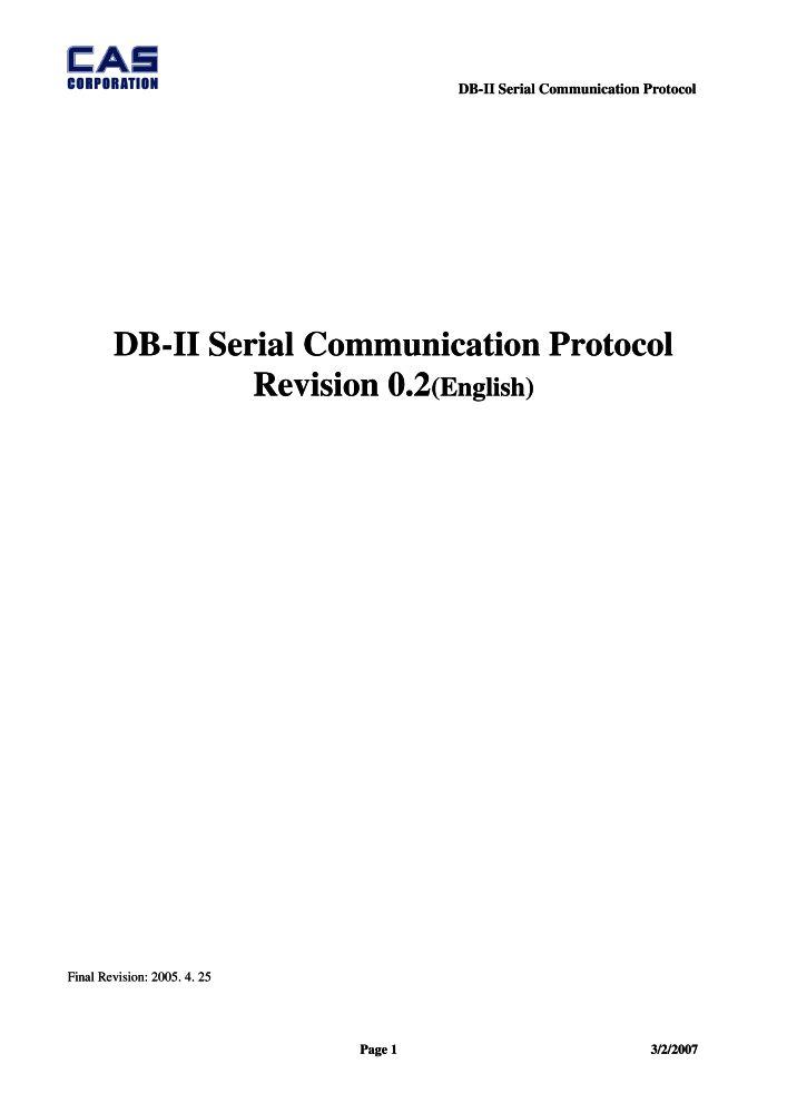 CAS DB-II Serial Communication Protocol manual PDF - The