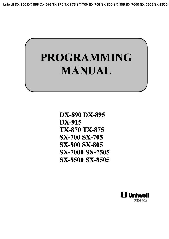 Manual for uniwell tx 850. The-checkout-tech manuals for cash.