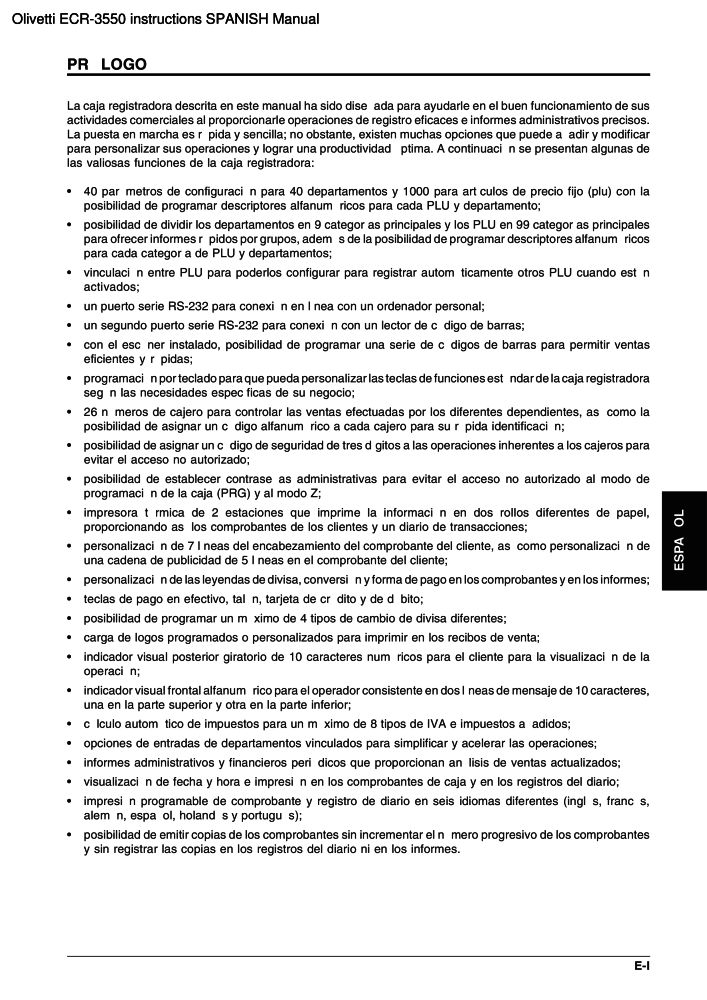 Olivetti Ecr 3550 Instructions Spanish Manual Pdf The Checkout