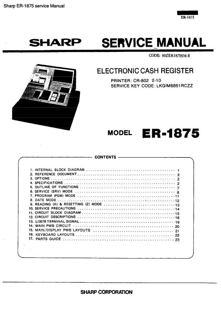 sharp er 1875 service manual pdf the checkout tech store rh the checkout tech com Sharp 10 Key Calculator Sharp 10 Key Calculator