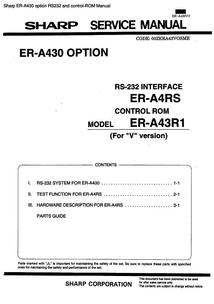 sharp er a430 option rs232 and control rom manual pdf the checkout rh the checkout tech com A430 GM Behringer Mixer Manuals