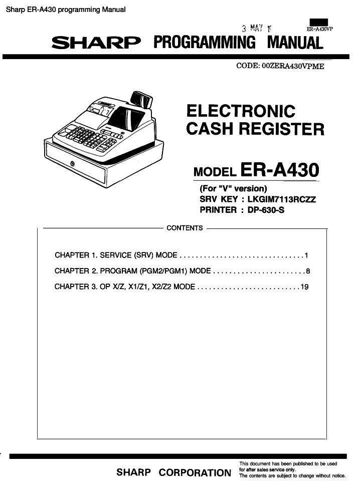 sharp er a430 programming manual pdf the checkout tech store rh the checkout tech com JCB Forklift Manuals Airbus A430
