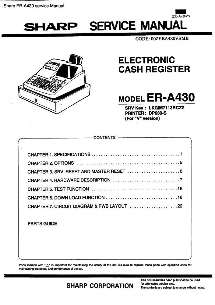 sharp er a430 service manual pdf the checkout tech store rh the checkout tech com Types of Manuals A430 GM