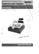 Sanyo ecr-425 and ecr-445 user and programming manual.